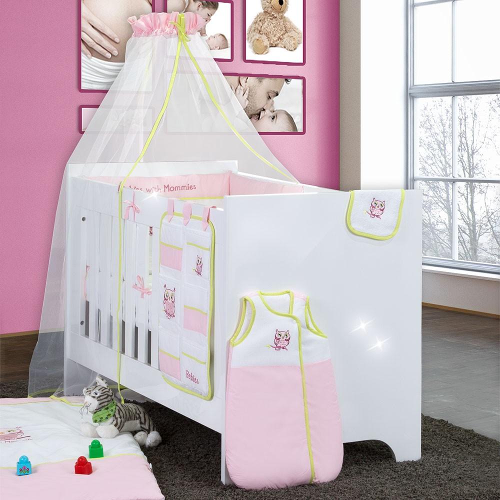Babyzimmer Yves 18-tlg. mit 3 türigem Schrank + kl. Bett, Set ...