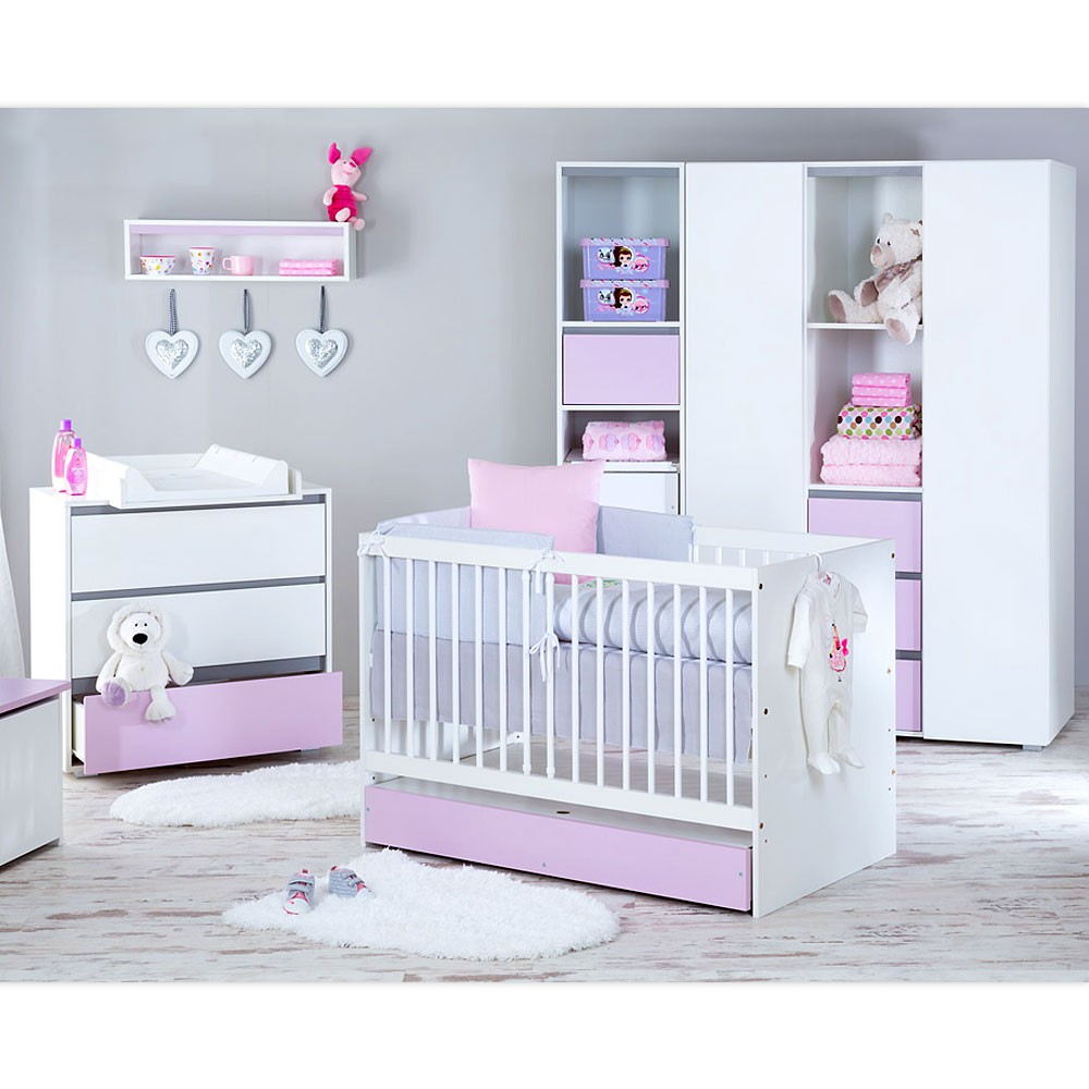 babyzimmer 5 tlg dalia rosa mit 3 t rigem kleiderschrank. Black Bedroom Furniture Sets. Home Design Ideas