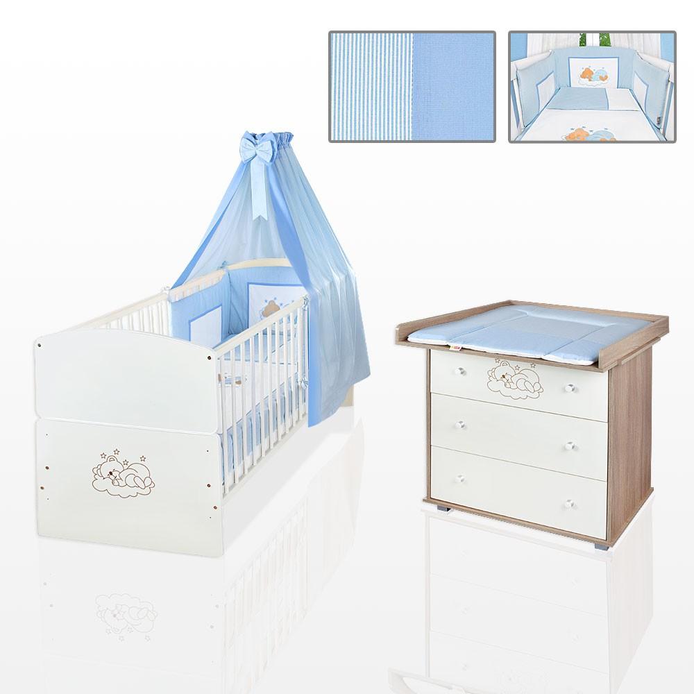 sparset 11 tlg babybett juniorbett kommode bettset wickelauflage blau matratze baby m bel. Black Bedroom Furniture Sets. Home Design Ideas