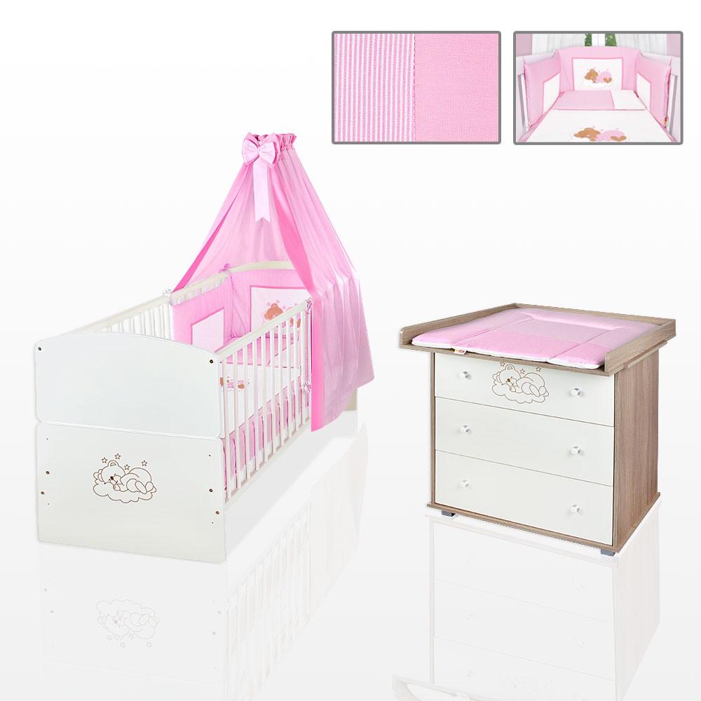 sparset 11 tlg babybett juniorbett kommode bettset wickelauflage rosa matratze baby m bel. Black Bedroom Furniture Sets. Home Design Ideas