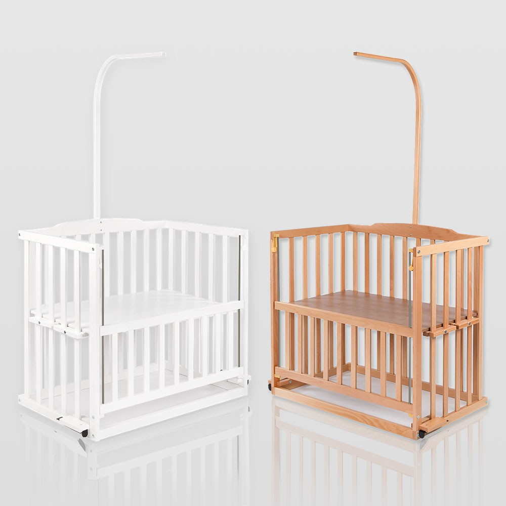 baby beistellbett babybett h henverstellbar wei oder kiefer mit himmelstange baby m bel baby. Black Bedroom Furniture Sets. Home Design Ideas