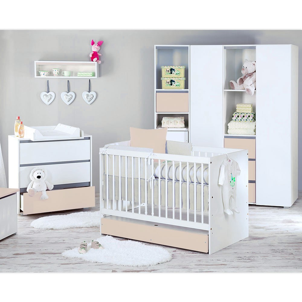 babyzimmer dalia in beige 19 tlg mit 3 t rigem kl set kleiner prinz blau ebay. Black Bedroom Furniture Sets. Home Design Ideas