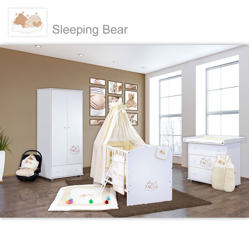 Charmant Babyzimmer 10 Tlg. In Weiß Mit 2 Türigem Kl. + Set Sleeping Bear