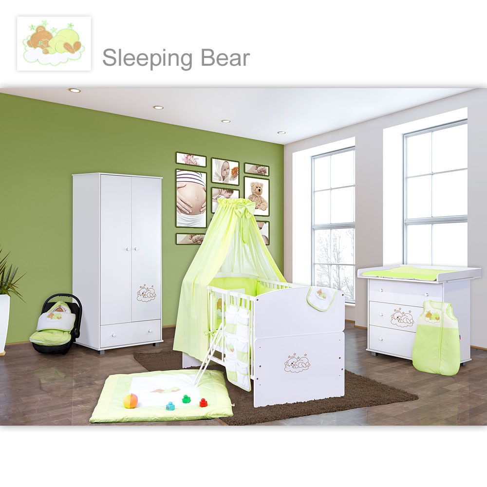 babyzimmer 10 tlg in wei mit 2 t rigem kl set sleeping bear gr n baby m bel babyzimmer. Black Bedroom Furniture Sets. Home Design Ideas