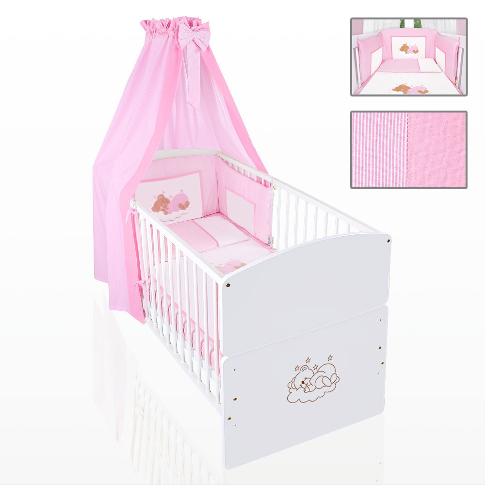 set 9 tlg babybett in wei himmelstange bettset sleeping bear rosa baby m bel babyzimmer. Black Bedroom Furniture Sets. Home Design Ideas