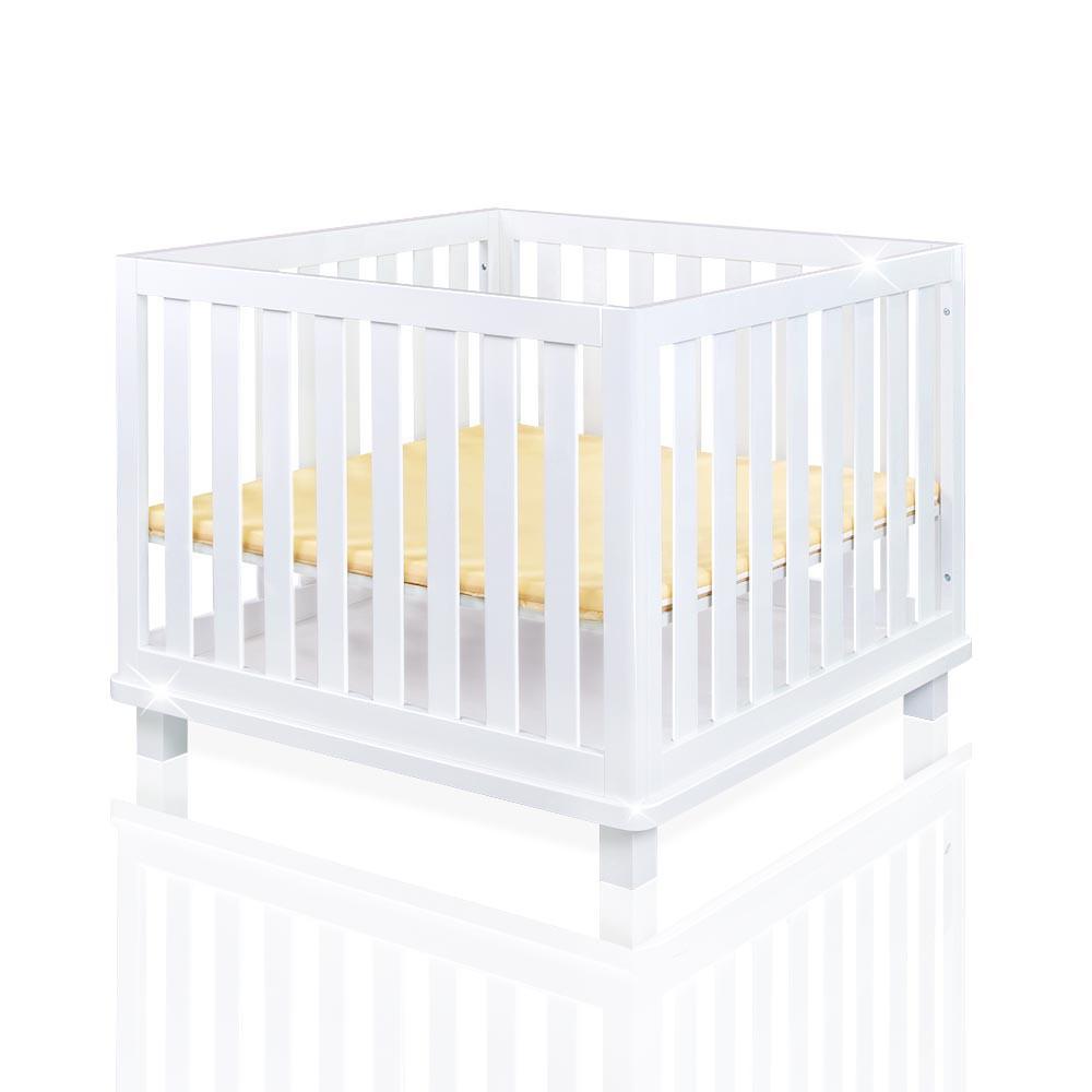 laufgitter babybett hochglanz weiss schlupfsprossen h henverstellbar 100x100cm baby m bel baby. Black Bedroom Furniture Sets. Home Design Ideas