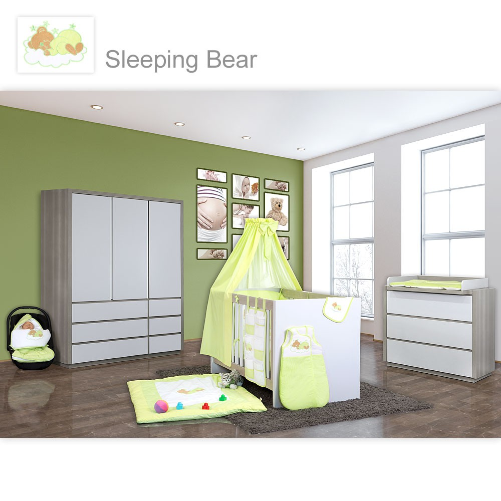 babyzimmer atlanta in akaziengrau 10 tlg mit 3 t rigem kl sleeping bear gr n baby m bel. Black Bedroom Furniture Sets. Home Design Ideas