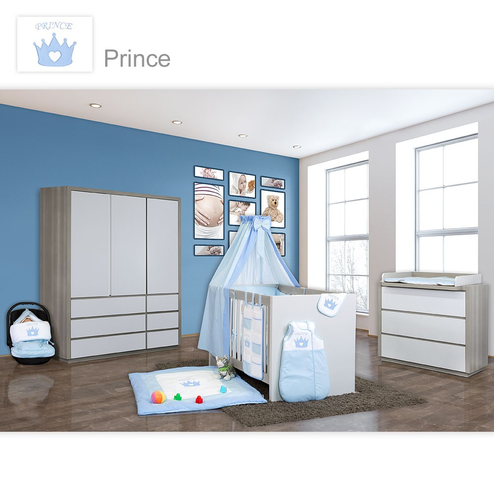 babyzimmer atlanta in akaziengrau 10 tlg mit 3 t rigem kl. Black Bedroom Furniture Sets. Home Design Ideas