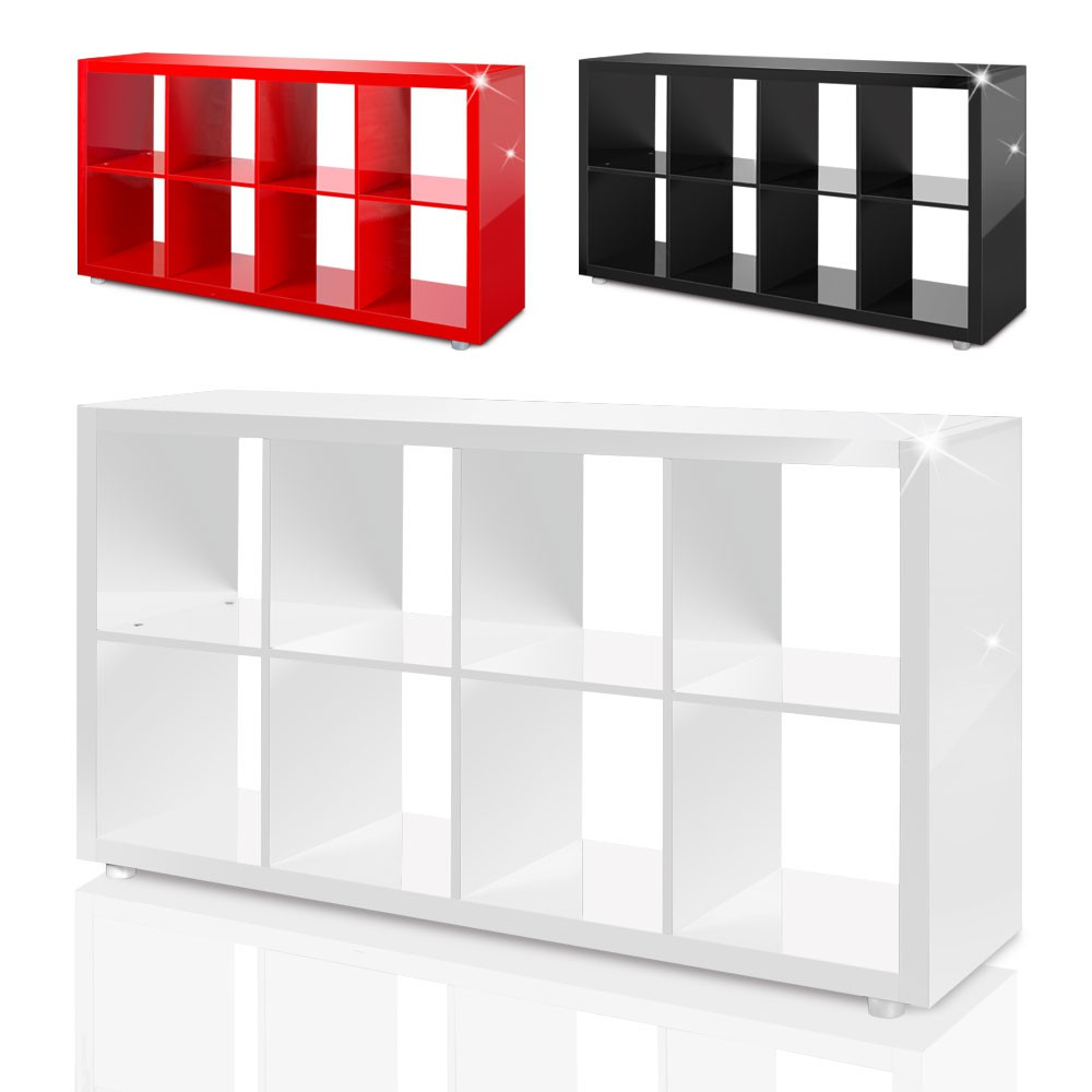Raumteiler Mexx Bücherregal Regal 8 Fächer Hochglanz Weiss Schwarz Rot B Ware