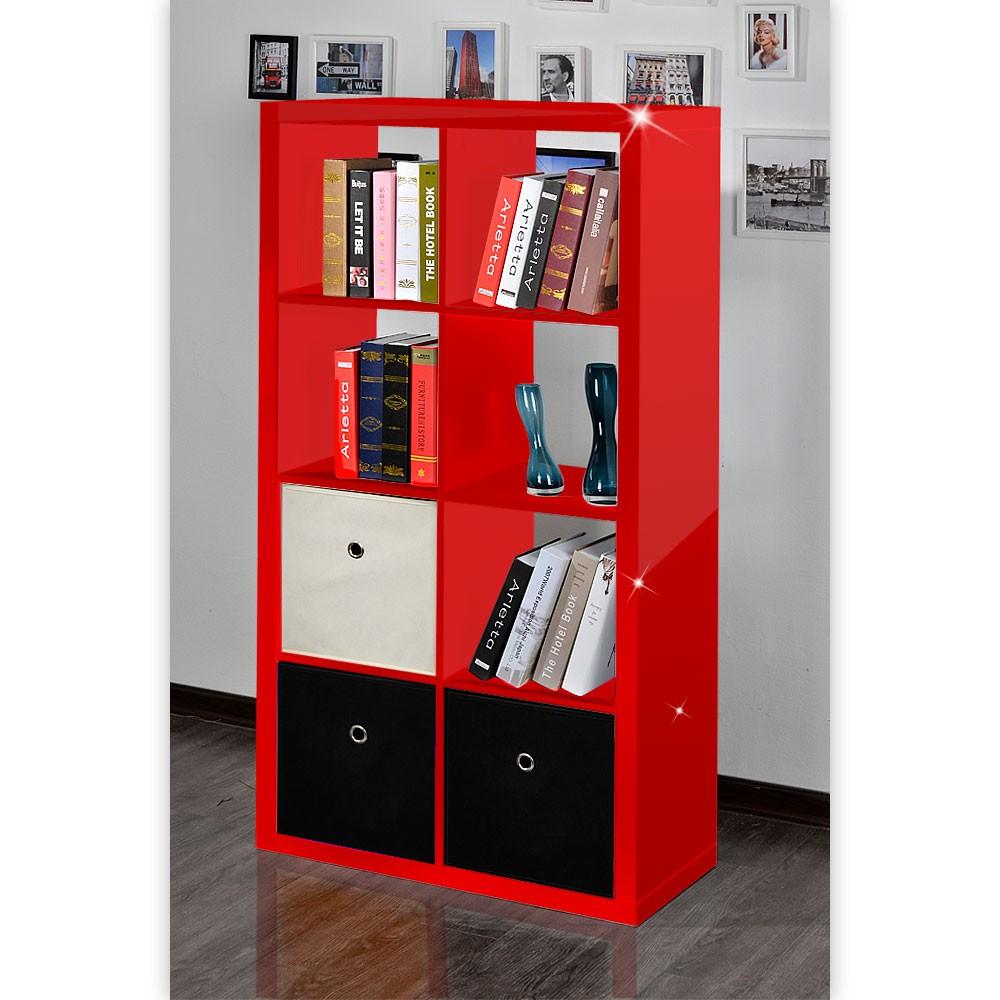 Raumteiler Mexx Bücherregal Regal 8 Fächer Hochglanz Weiss Schwarz Rot B-Ware – Bild 7