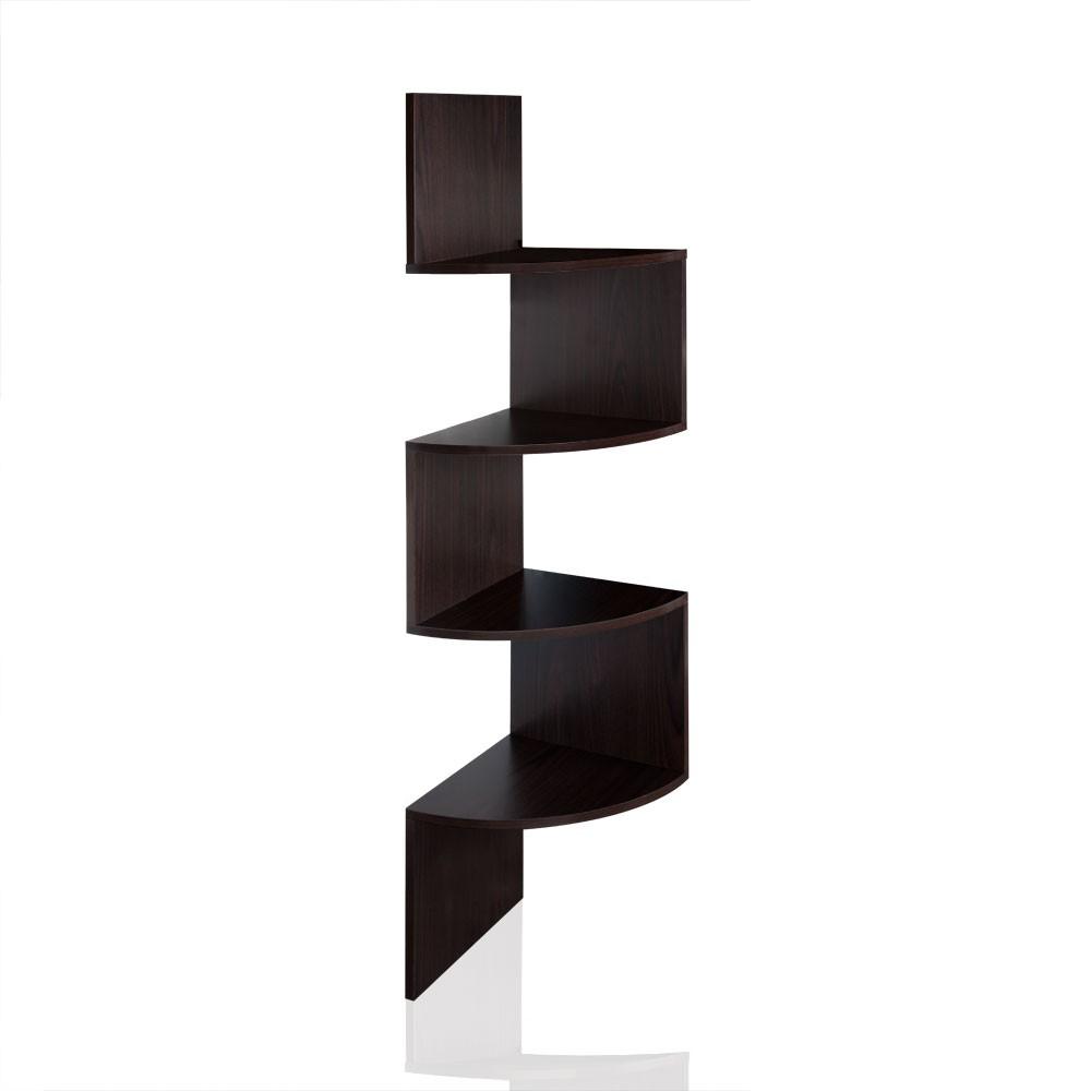 Eckregal Wandregal Hängeregal Regalsystem mit 4 Ablageböden in Schwarz, Weiss, Sonoma – Bild 2