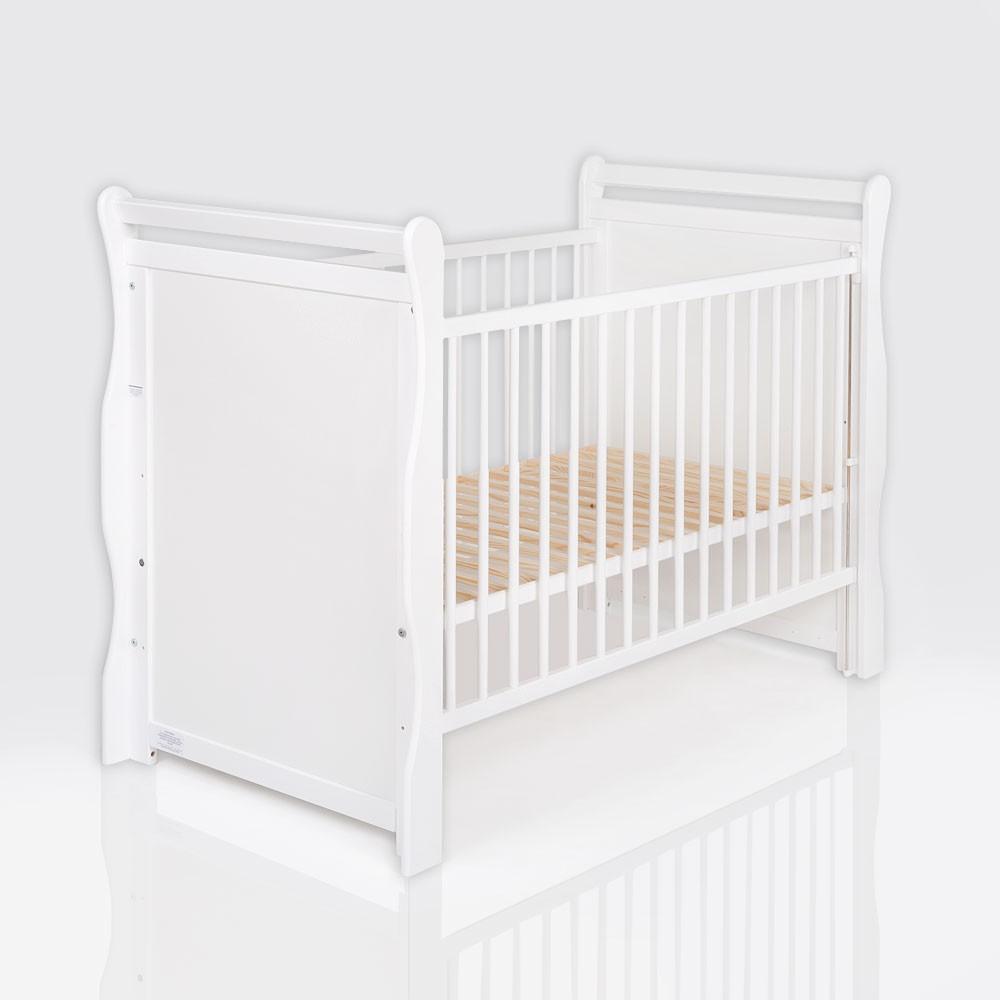 Baby und Kinderbett Massivholz Jas in Nuss Weiss 120 x 60 cm