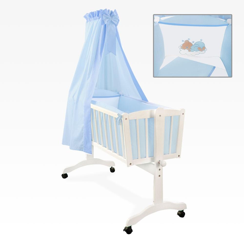 wiege natura weiss mit 9 teiliges bettset sleeping bear blau plus himmelstange baby m bel baby. Black Bedroom Furniture Sets. Home Design Ideas