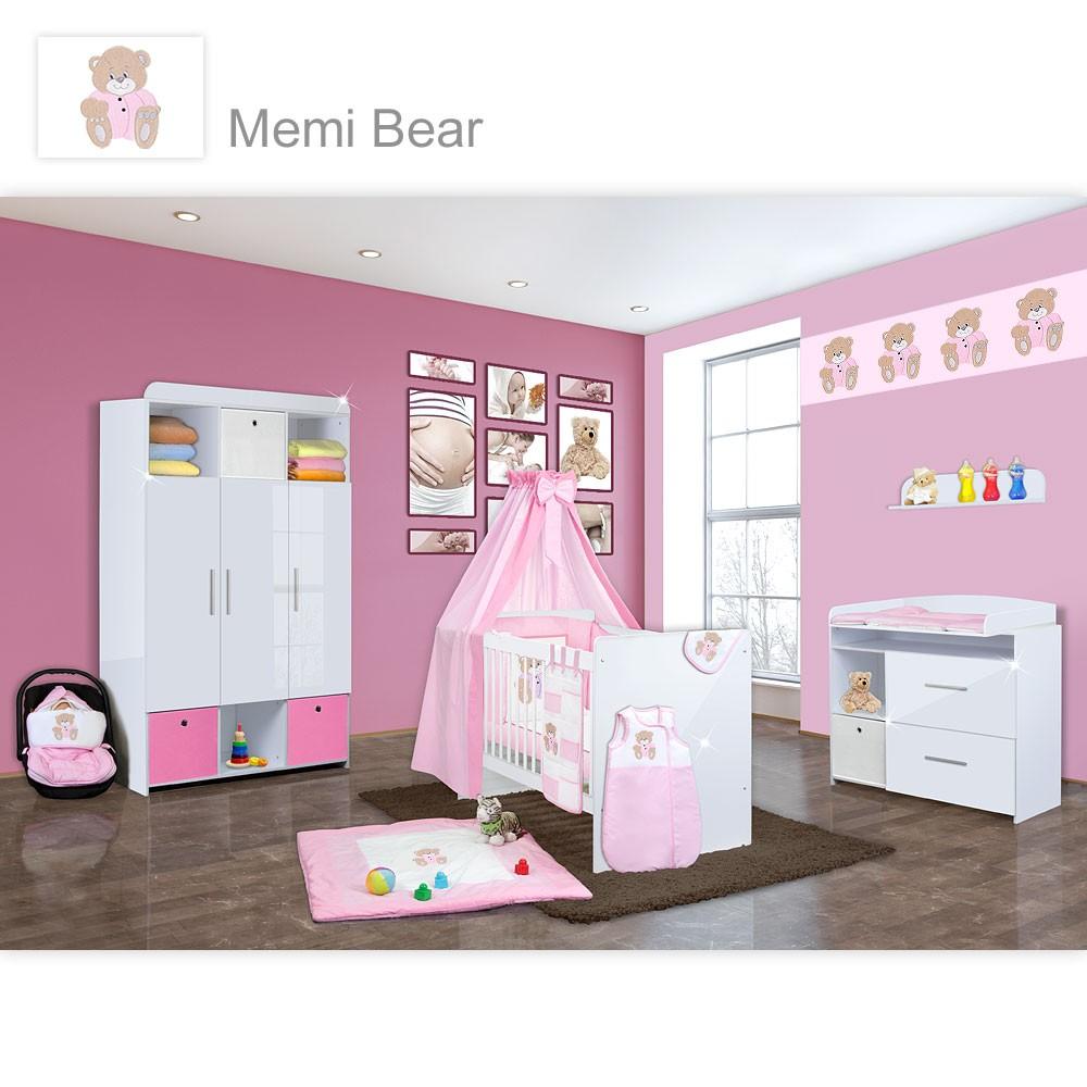Babyzimmer Mexx in Weiss Hochglanz 11 tlg. mit 3 türigem Kl. + Memi Bear Rosa
