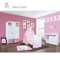 Babyzimmer Mexx in Weiss Hochglanz 11 tlg. mit 3 türigem Kl. + Memi Bear Rosa 001