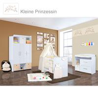 Babyzimmer Mexx in Weiss Hochglanz 11 tlg. mit 3 türigem Kl. + Kleine Prinzessin Beige 001