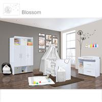 Babyzimmer Mexx in Weiss Hochglanz 11 tlg. mit 3 türigem Kl. + Blossom Grau 001