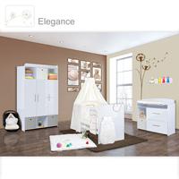 Babyzimmer Mexx in Weiss Hochglanz 11 tlg. mit 3 türigem Kl. + Elegance Cream 001