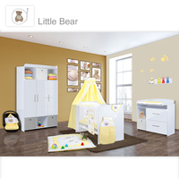 Babyzimmer Mexx in Weiss Hochglanz 11 tlg. mit 3 türigem Kl. + Little Bear Gelb 001