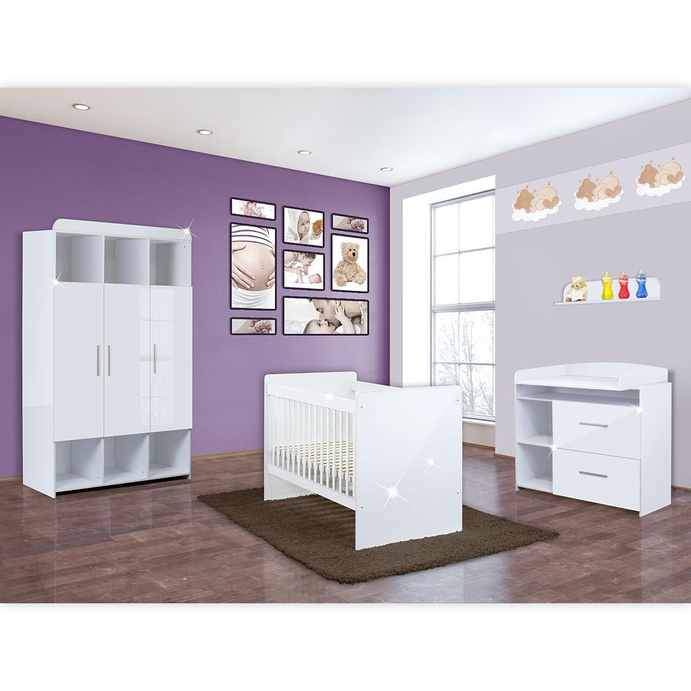 Babyzimmer Mexx in Weiss Hochglanz 11 tlg. mit 3 türigem Kl. + Marine Blau – Bild 2