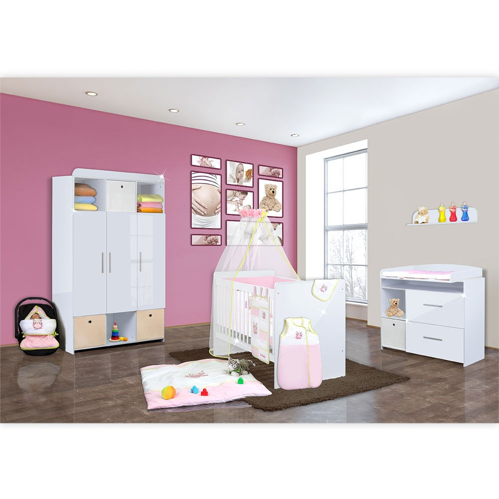 babyzimmer mexx in weiss hochglanz 20 tlg mit 3 t rigem. Black Bedroom Furniture Sets. Home Design Ideas