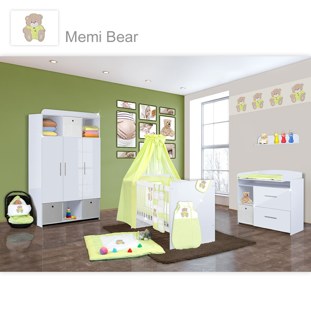 babyzimmer mexx in weiss hochglanz 22 tlg mit 3 t rigem kl memi bear gr n baby m bel. Black Bedroom Furniture Sets. Home Design Ideas