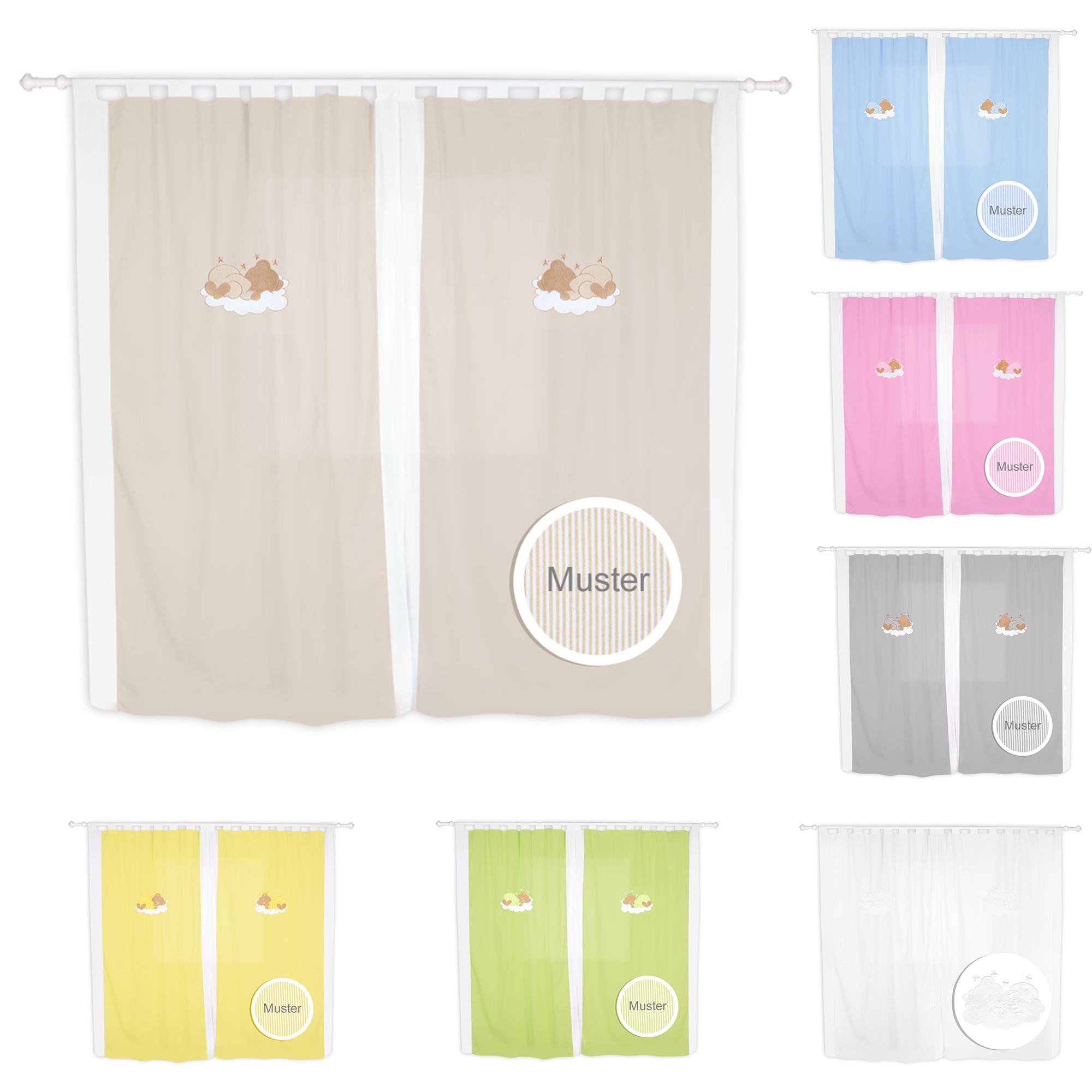 babyzimmer kinderzimmer gardinen vorh nge mit schlaufen 5. Black Bedroom Furniture Sets. Home Design Ideas