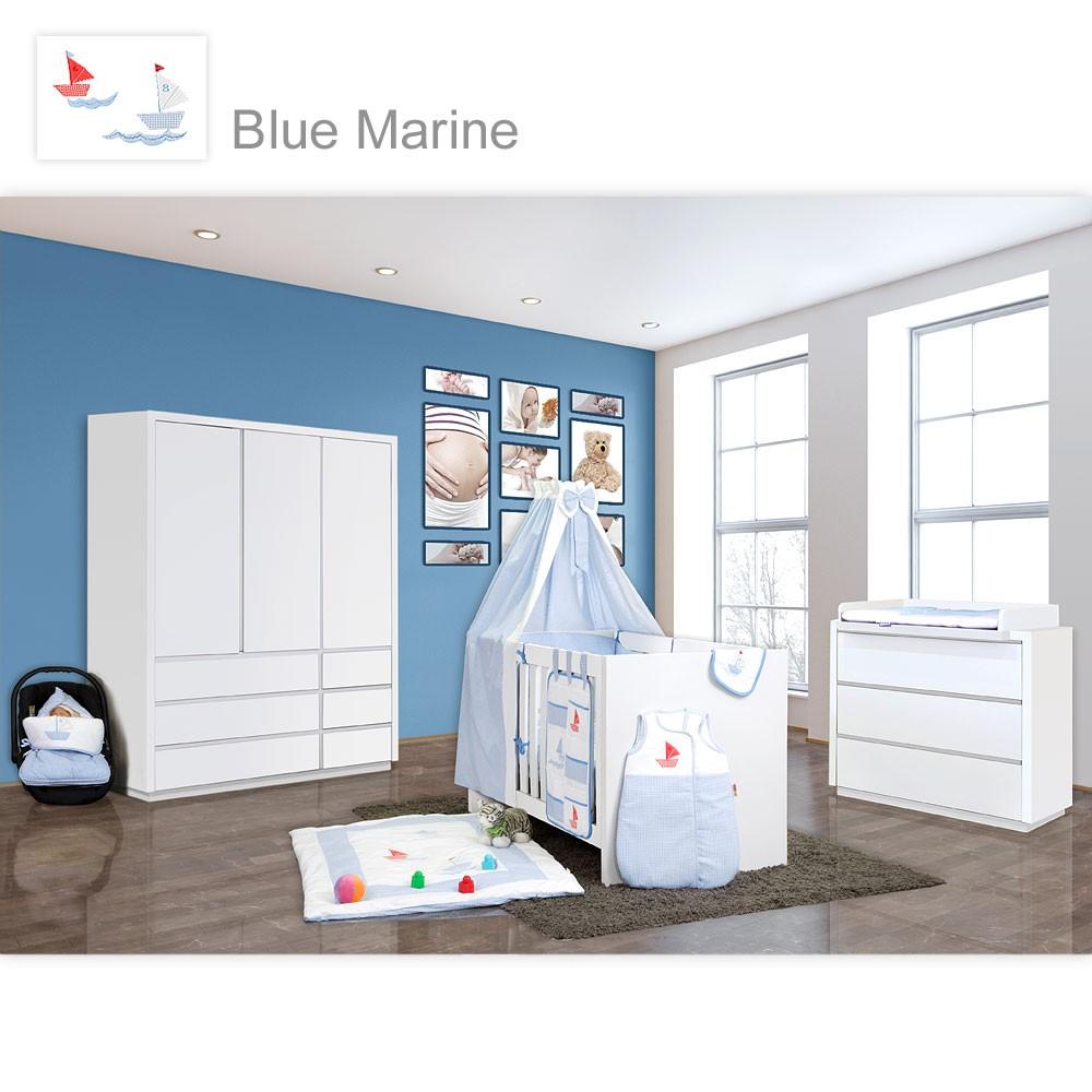 babyzimmer atlanta in weiss 21 tlg mit 3 t rigem kl textilset von marine blau baby m bel. Black Bedroom Furniture Sets. Home Design Ideas