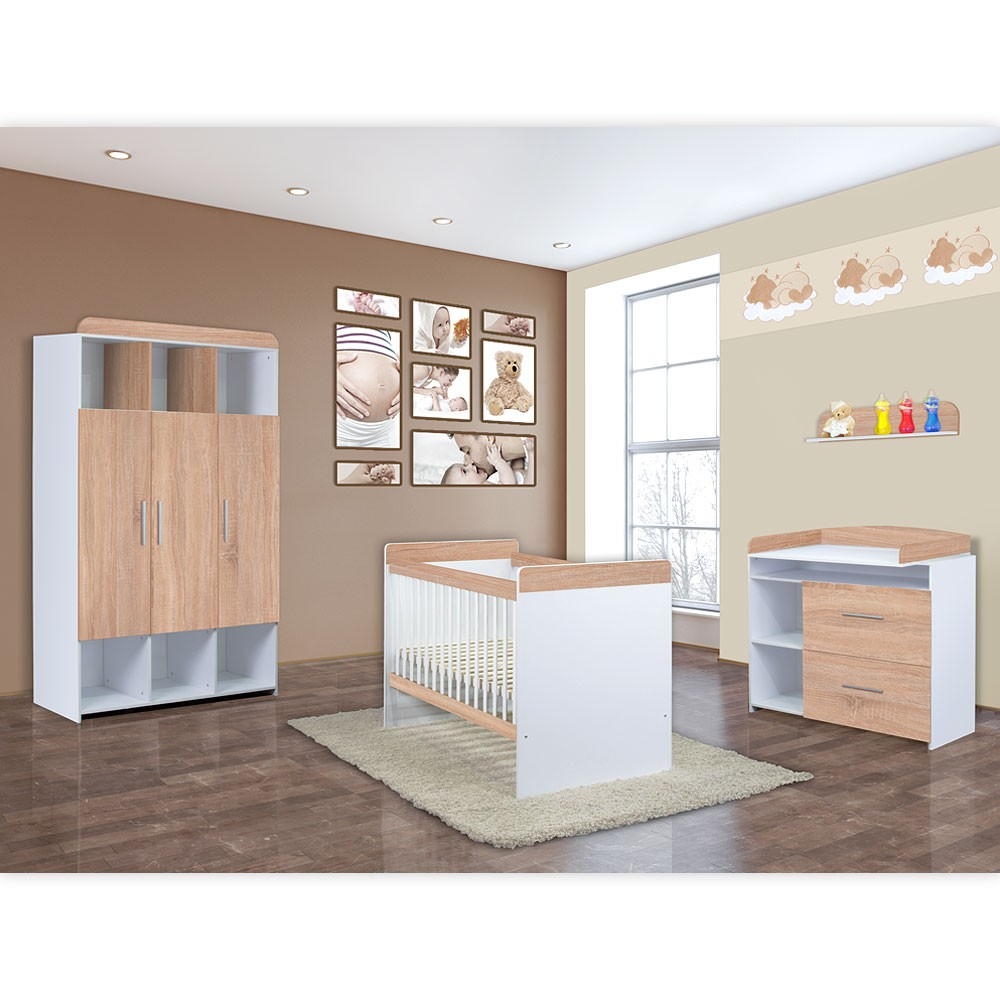 babyzimmer mexx 5 tlg babybett kleiderschrank kommode lattenrost wandbord neu ebay. Black Bedroom Furniture Sets. Home Design Ideas