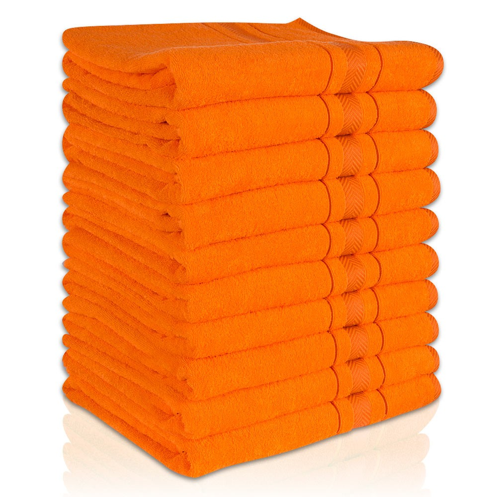 10 er SET ORANGE BADETUCH 500g/m² 100% BAUMWOLLE 100x150 – Bild 1