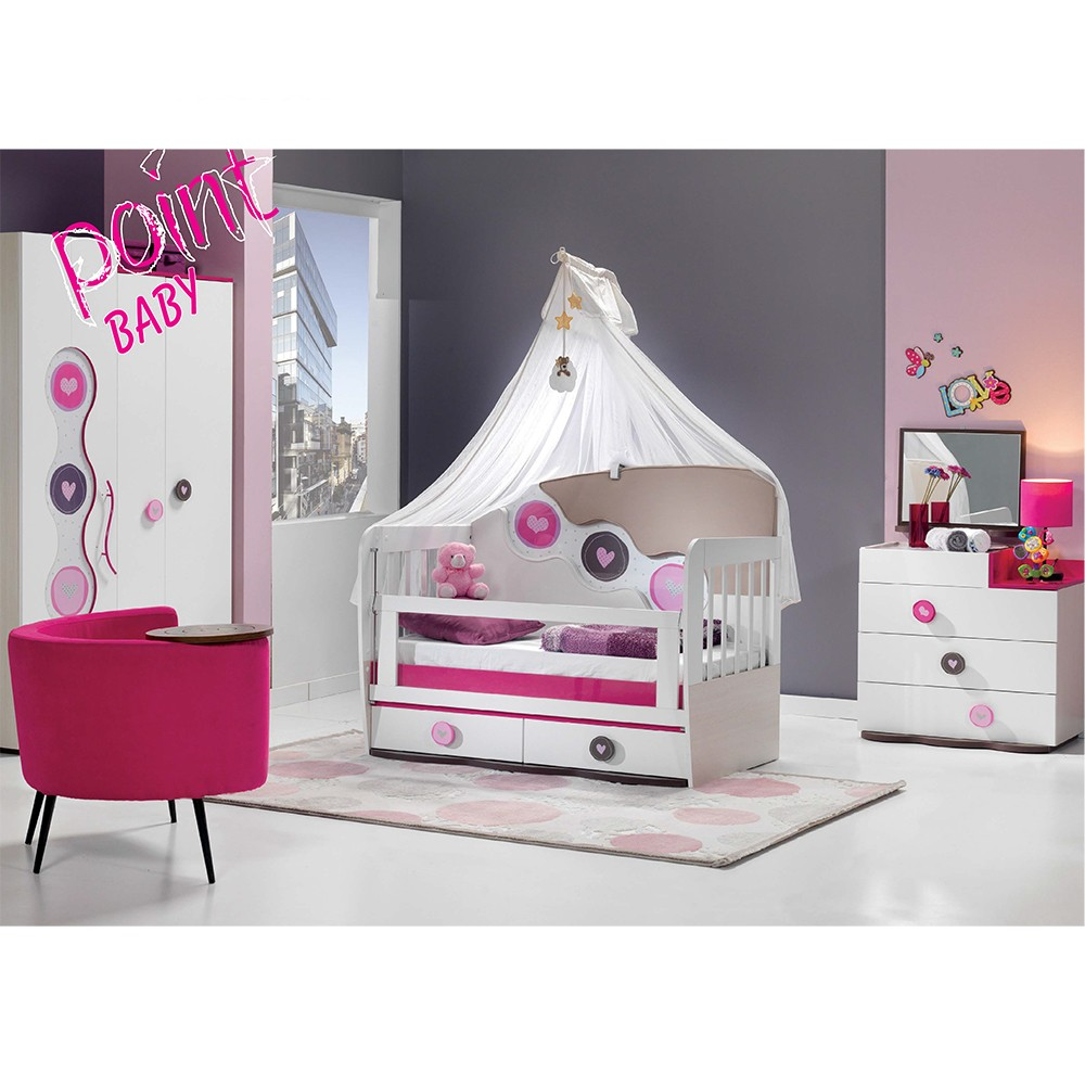 hochwertiges babyzimmer mit kommode 3 t rigem kleiderschrank und babybett mit absenkbarem. Black Bedroom Furniture Sets. Home Design Ideas
