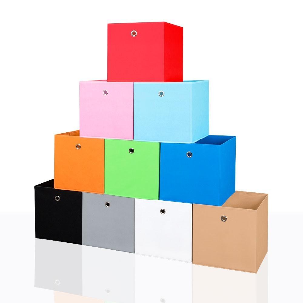 4er Set Faltbox in der Farbe Hellblau 34 x 34 cm Faltkiste Regalkorb Regalbox Kinderbox Einschubkorb Aufbewahrungsbox Stoffbox – Bild 4