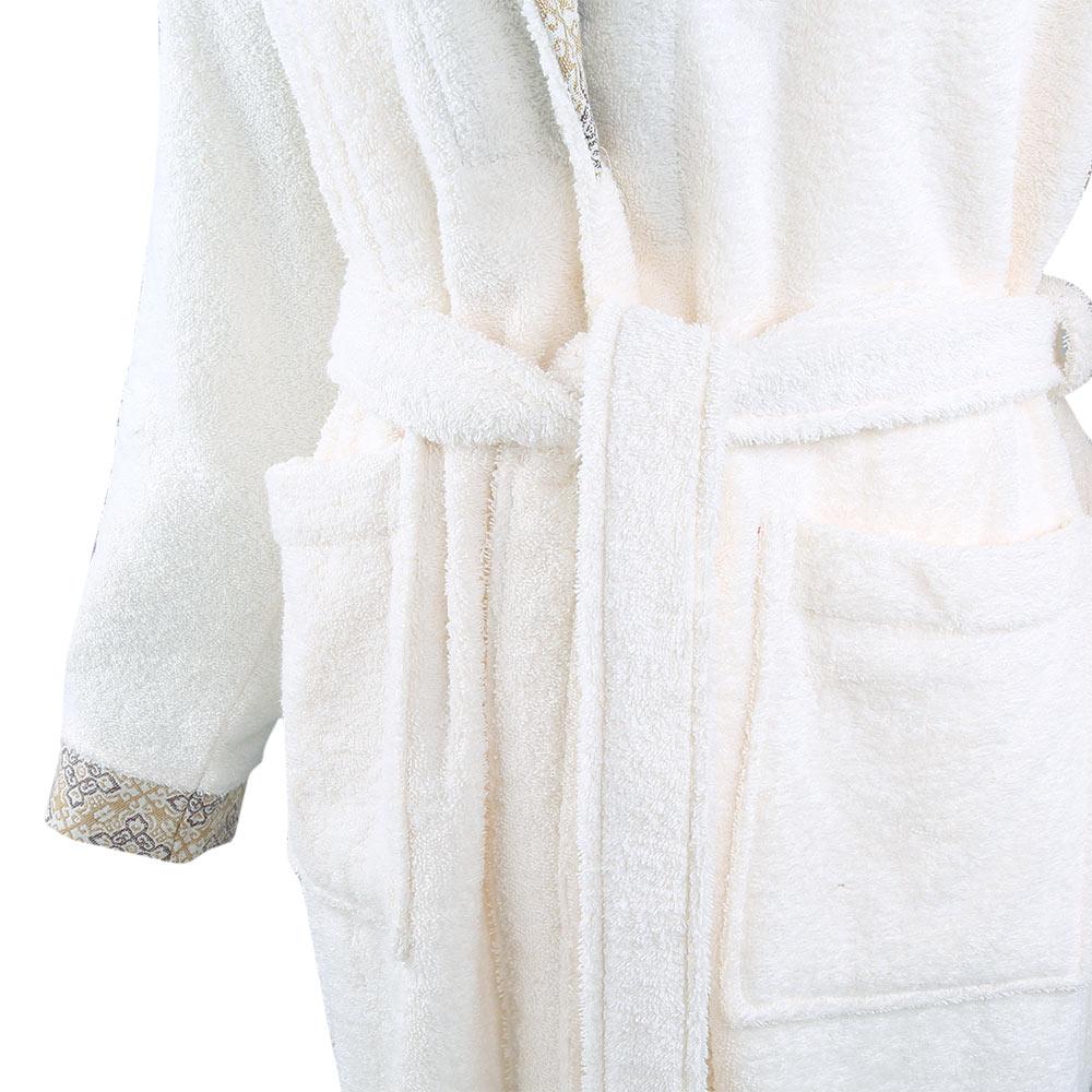 Bademantel Morgenmantel Saunamantel flauschig warm elegant Wellness Sauna S-XL braun cream rosa - 100% Baumwolle Frottee Luxford – Bild 9
