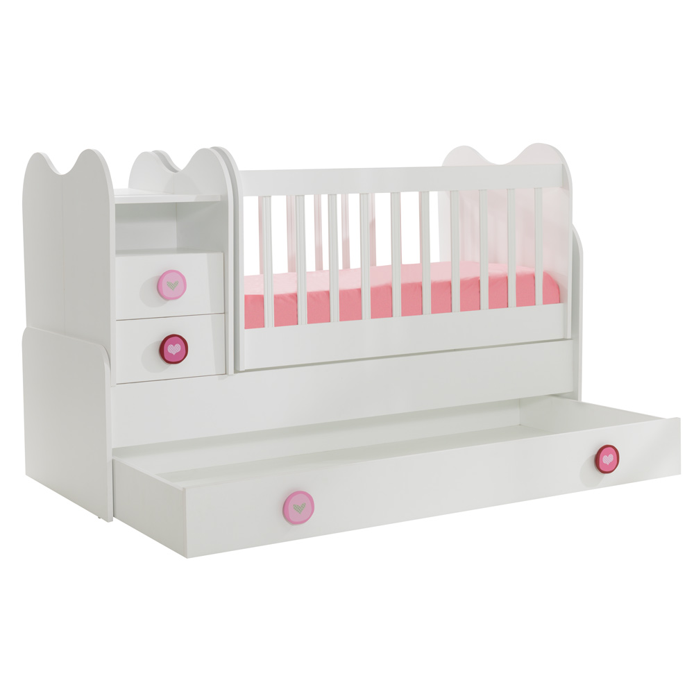 Mitwachsendes Babybett Kinderbett mit integrierter Wickelkommode und Wipp-Funktion, 70x130 cm – Bild 2