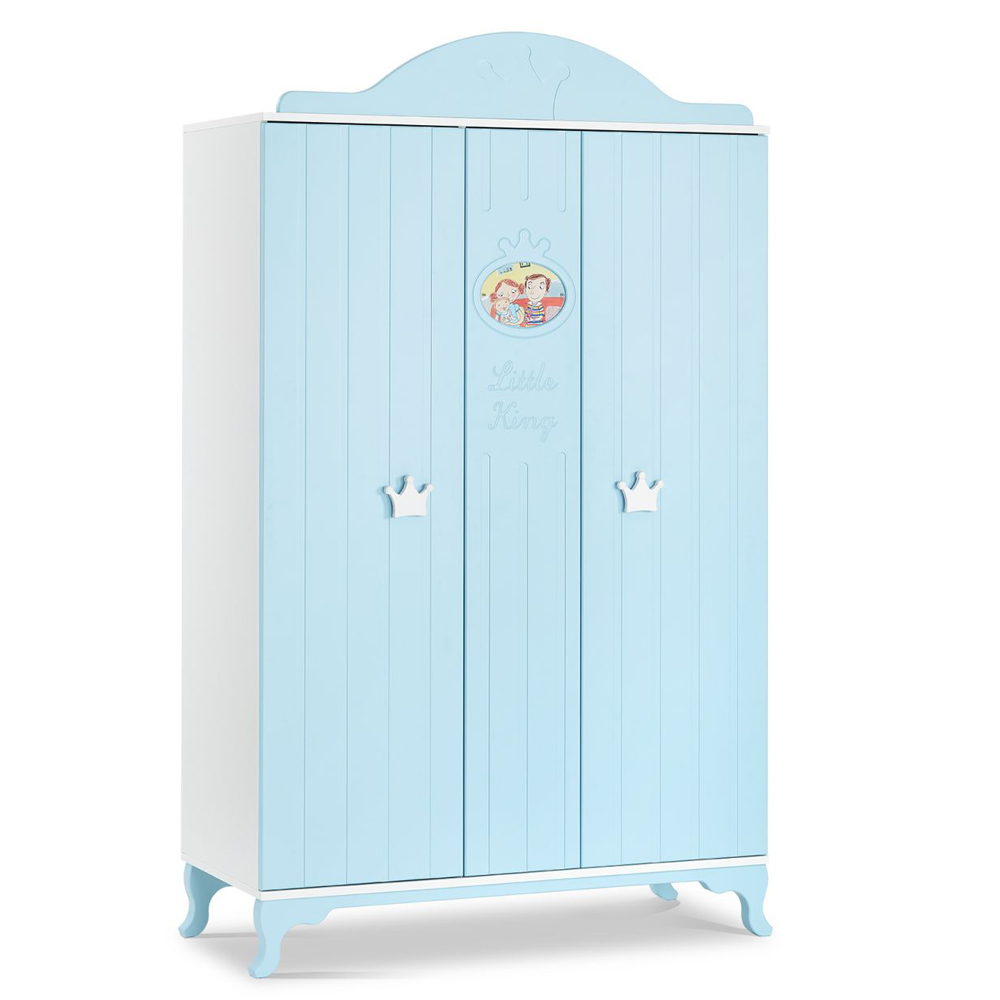 hochwertiger 3 t riger schrank little king von mixibaby in der farbe weiss blau baby m bel. Black Bedroom Furniture Sets. Home Design Ideas