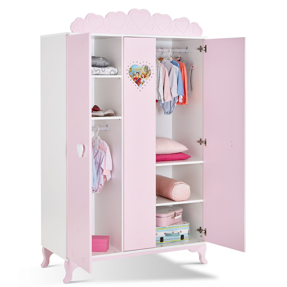 3 t riger kleiderschrank little princess von mixibaby in der farbe rosa baby m bel kleiderschr nke. Black Bedroom Furniture Sets. Home Design Ideas