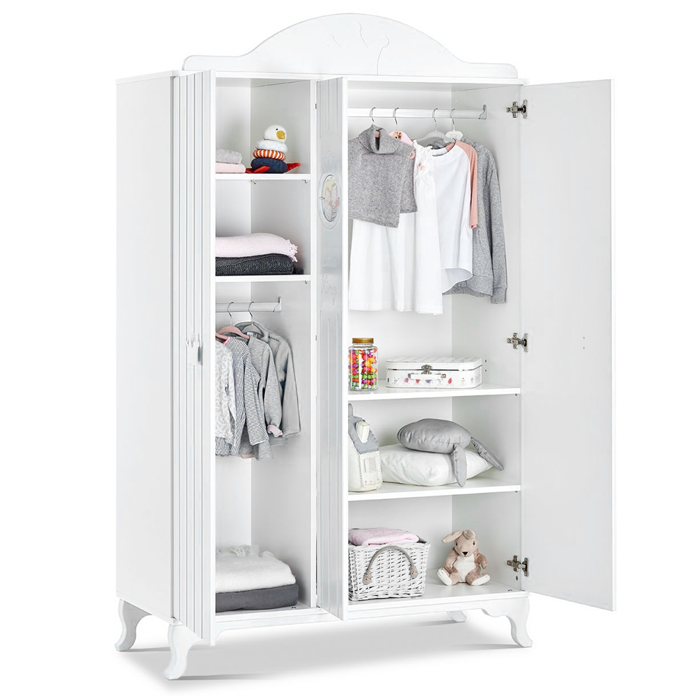 mitwachsendes babyzimmer little king mit kleiderschrank kommode bett in weiss ebay. Black Bedroom Furniture Sets. Home Design Ideas