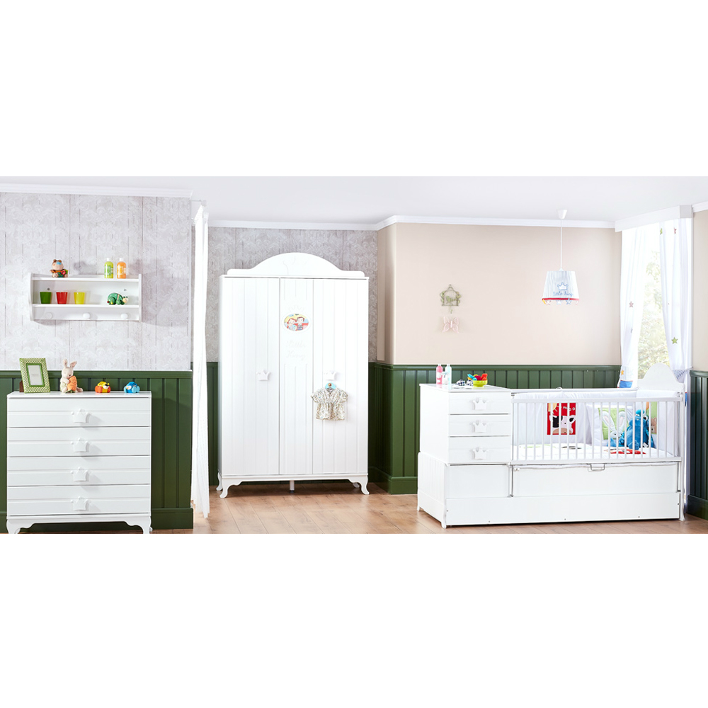 babyzimmer komplett set kleiderschrank kommode 2in1babybett little king wei baby m bel. Black Bedroom Furniture Sets. Home Design Ideas