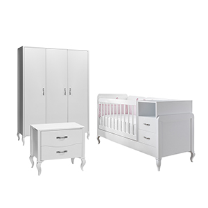 mitwachsendes babyzimmer kommode kleiderschrank und babybett mit wipp funktion ebay. Black Bedroom Furniture Sets. Home Design Ideas