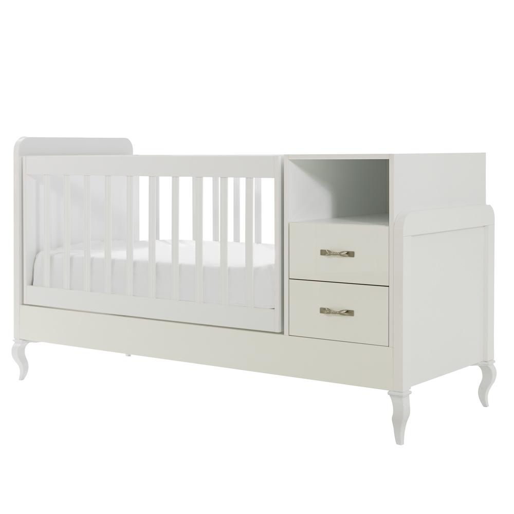 Mitwachsendes Babyzimmer Snowy mit Kommode, Kleiderschrank und Babybett mit Wipp-Funktion – Bild 6