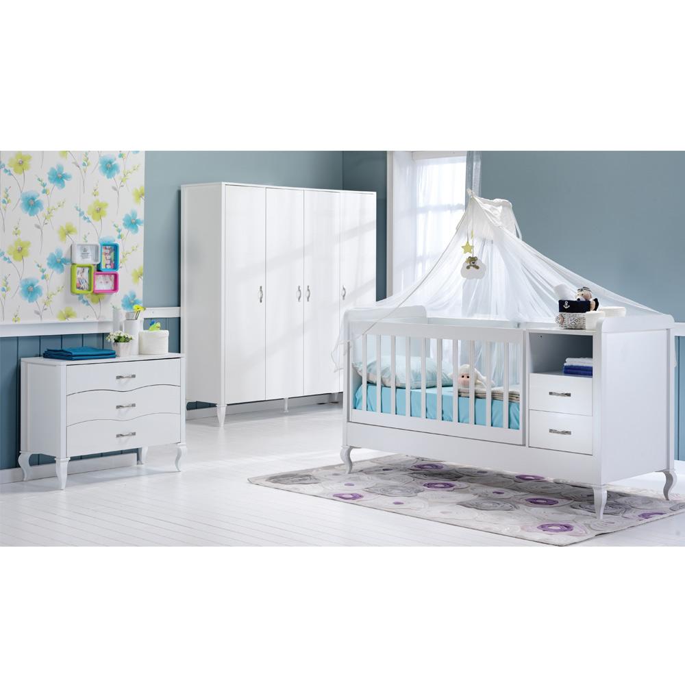 Mitwachsendes Babyzimmer Snowy mit Kommode, Kleiderschrank und Babybett mit Wipp-Funktion