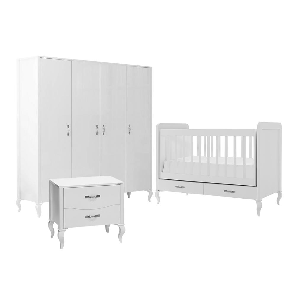 Mitwachsendes Babyzimmer Snowy mit Kommode, Kleiderschrank und Babybett mit Wipp-Funktion – Bild 10