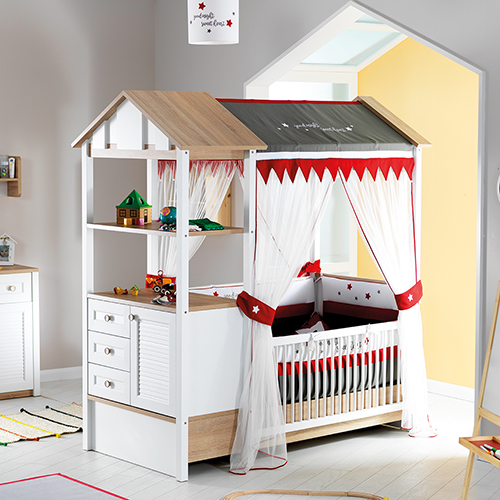2in1 Kinderbett Babybett umbaubar zum Juniorbett LOFT