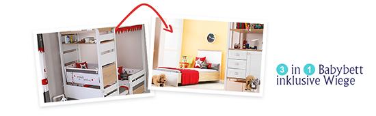 Babybett kann zum Kinderbett / Jugendbett umgebaut werden