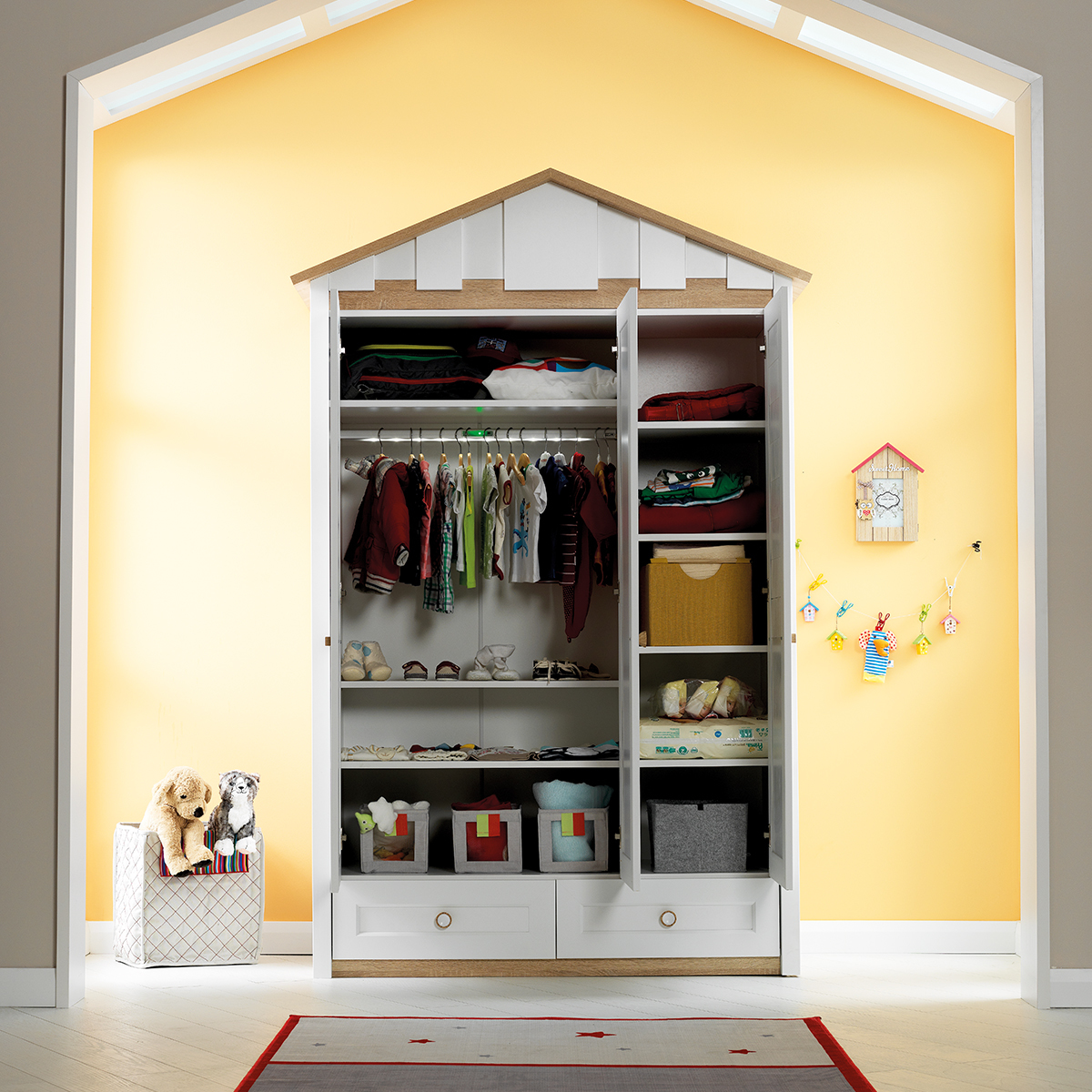 3in1 Möbel Komplettset Kinderzimmer Jugendzimmer Hausbett Kinderbett Treehouse Baumhütte Spielbett massiv – Bild 5