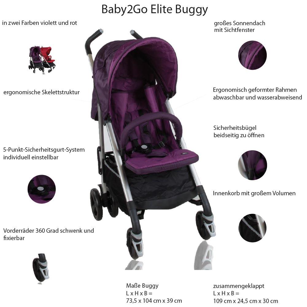 Buggy klappbar Reisebuggy Kinderwagen Leichtgewicht Sonnendach Baby2go Elite  – Bild 5