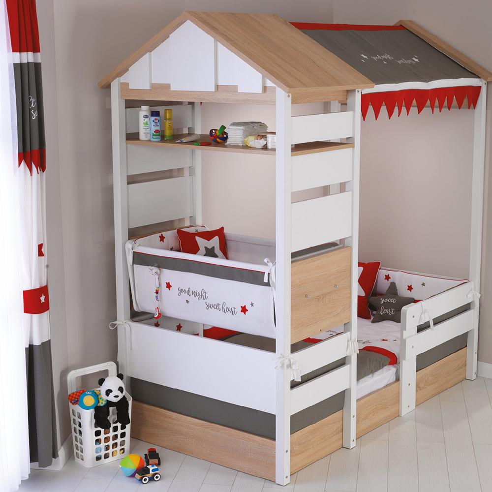 Möbel Komplettset Kinderzimmer Jugendzimmer Hausbett Kinderbett Treehouse Baumhütte Spielbett massiv – Bild 4