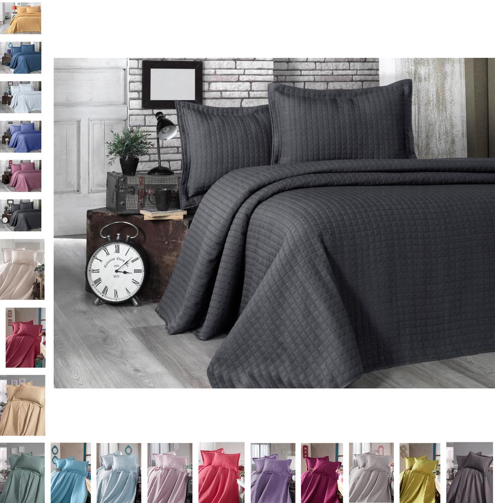 Bettüberwurf Steppdecke Tagesdecke Patchwork Kariert Bettdecke Decke Doppelbett – Bild 1