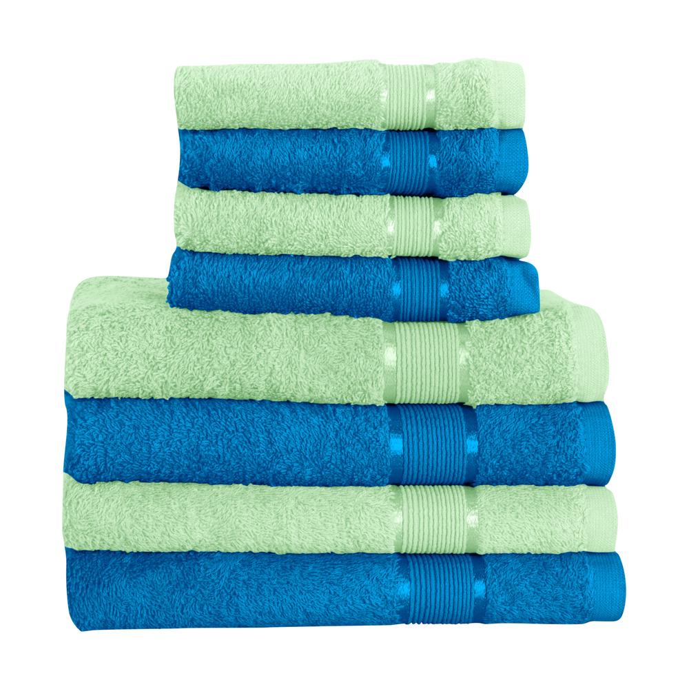 8 tlg. Handtuchset 4x Saunatuch 4x Handtuch Hellgrün mit Farbkombi – Bild 20