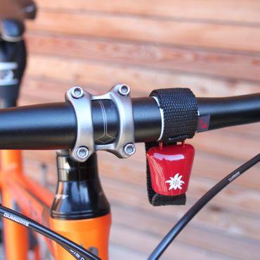Fahrradklingel Alpenhupe - Edelweis Rot/Weiß – Bild 2